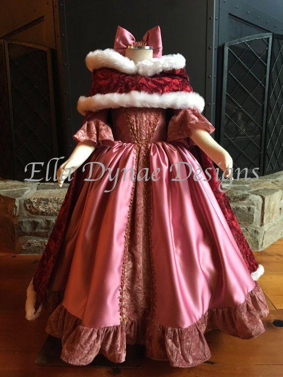 Belle Pink   Red Dress - Disney Inspired from Beauty and the Beast ... ac99e1ae6537