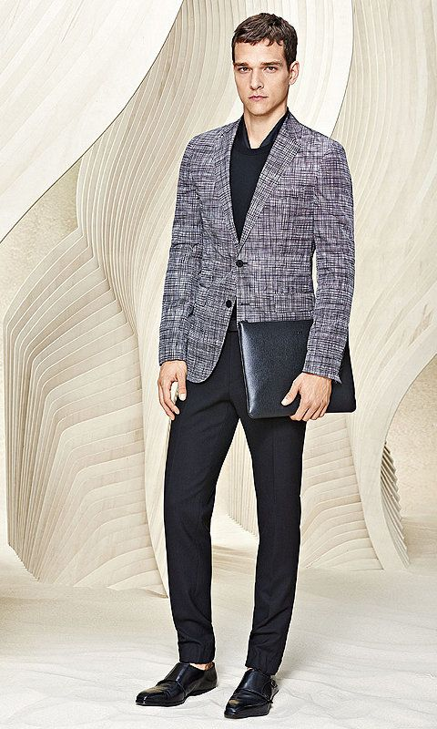 Black Tailored Jacket Grey Trousers And Black Shoes By Boss The