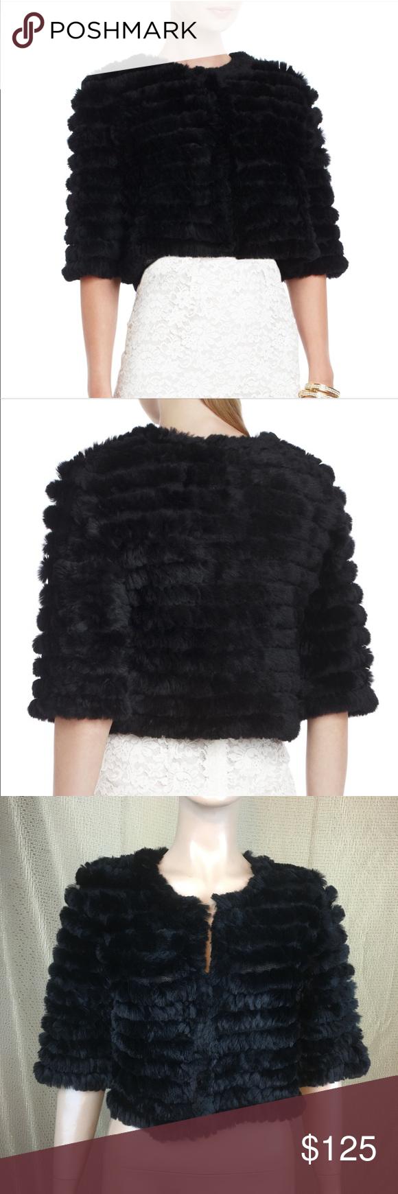 BCBGMAXAZRIA 'Sophiana' Black Fur Cardigan Sz:S | Fur