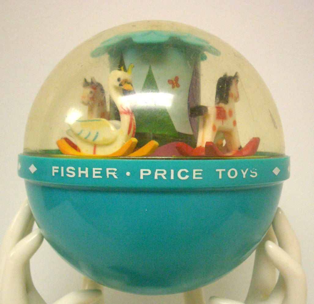 Vintage 1966 Fisher Roly Poly Chime Ball Retro