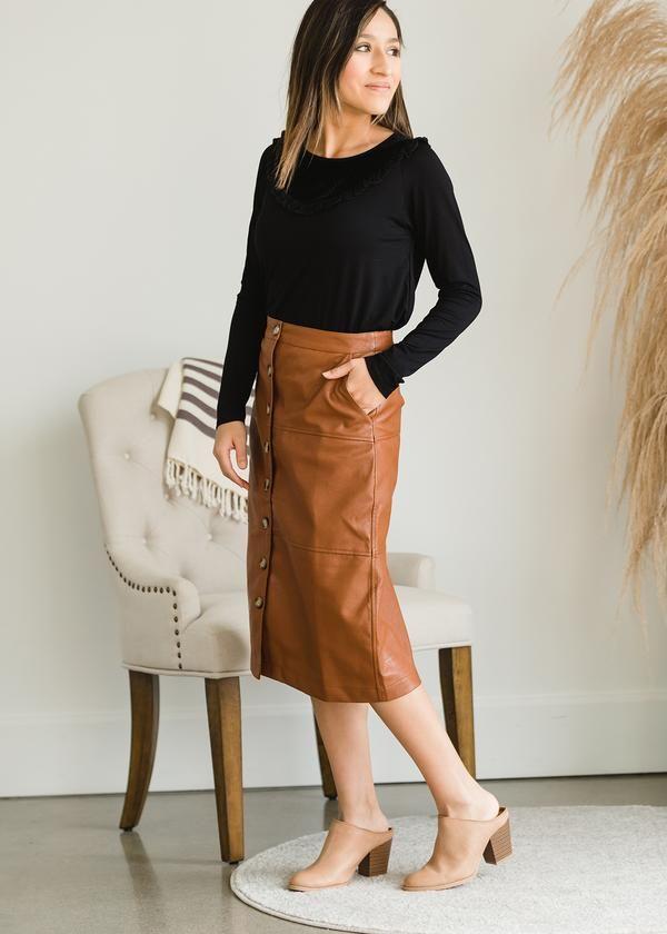 Double Button Leather Pencil Skirt   Karen Millen in 2020