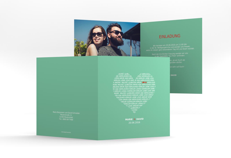 """Produktübersicht und Varianten zu Quadratische Klappkarte """"Hochzeitseinladung """"Love"""""""""""