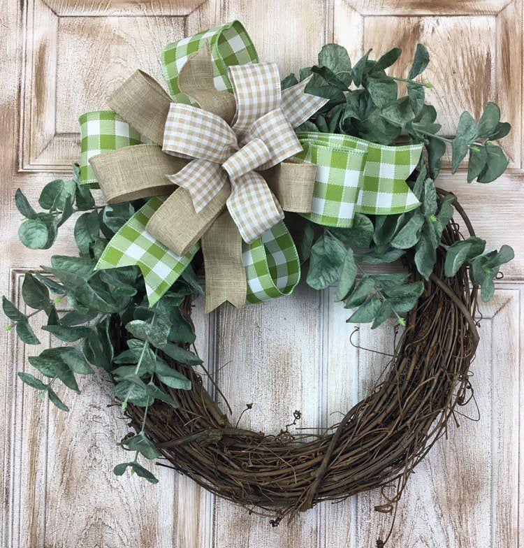 Photo of Peasant wreath, eucalyptus wreath, spring flower decor, everyday wreath