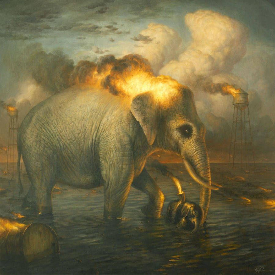 Animals Paintings In Post-Apocalyptic Environments