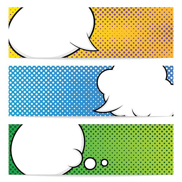 Three Pop Art Banners Template Vecteurs libres de droits et plus dimages vectorielles de Abstrait