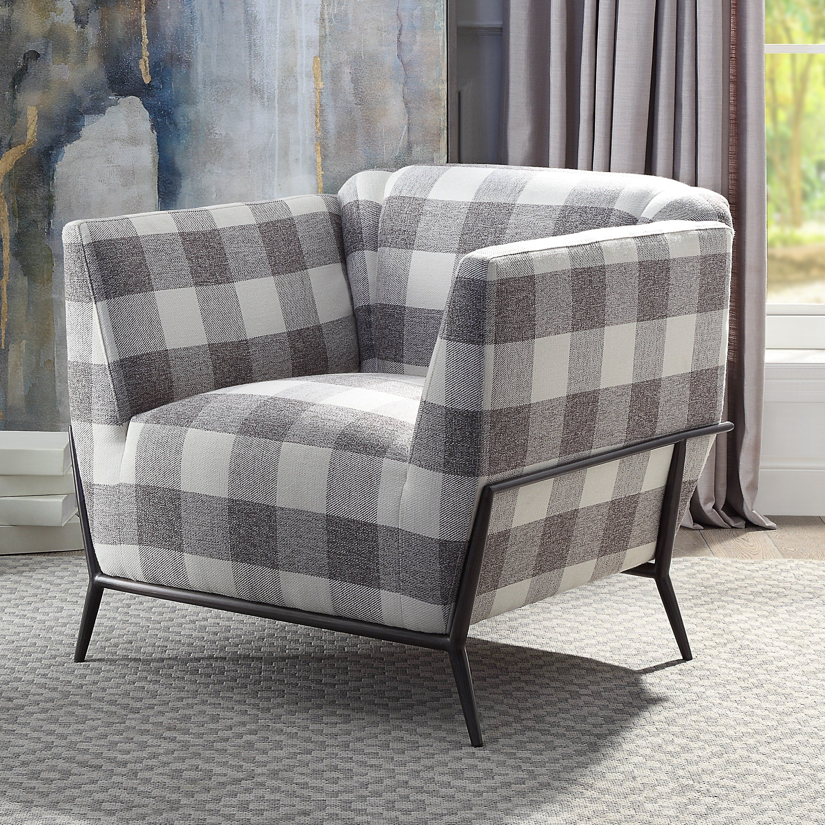 Gracie Oaks Large Plaid Print Arm Chair In 2020 Patterned Chair