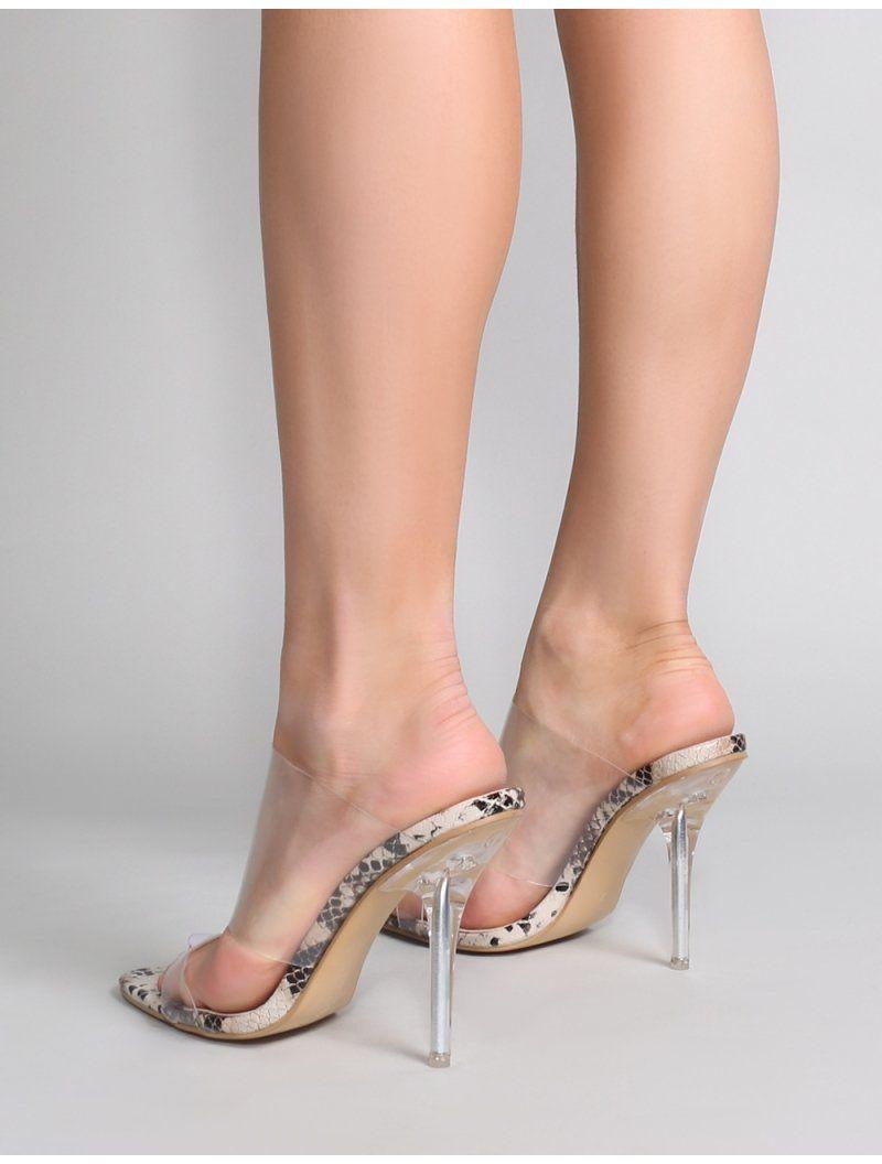 cc20c2d1fdd13 Boojee Perspex Heel Mules in Faux Snake | Public Desire | Public Desire