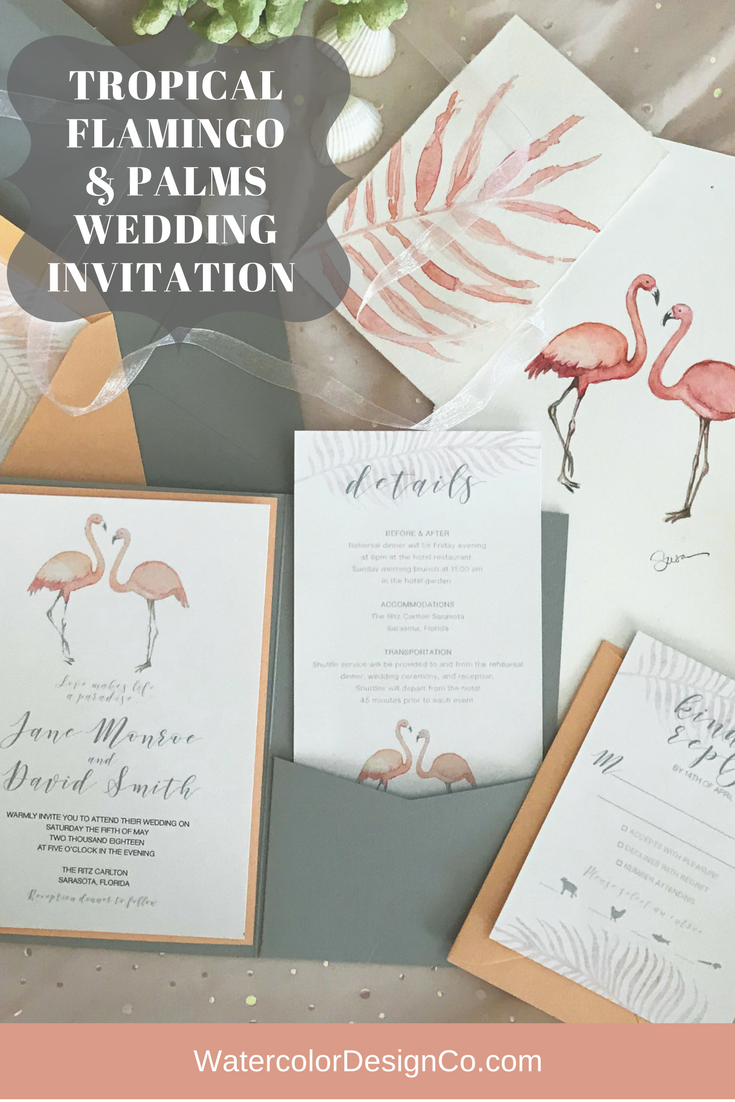 Modern spin on an iconic tropical themed wedding invitation by ...