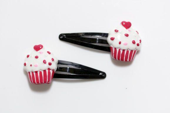 Sydän Cupcake Hiusklipsit