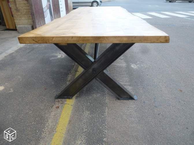 Table de salle à manger fer bois écorce brut 3 m Home deco Pinterest