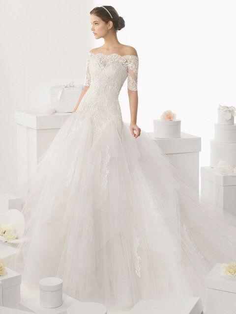 vestido de novia ball gown, en encaje, tul y pedrería, mangas tres