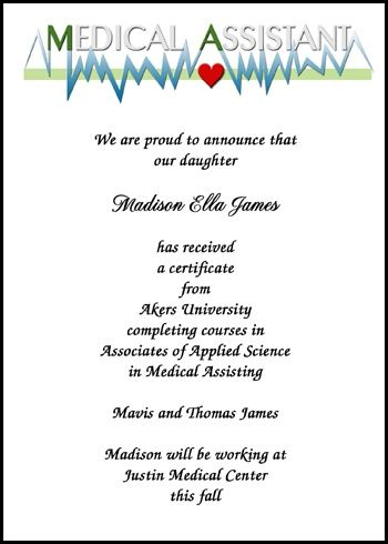 Shop Our Gigantic Library Of Cardio Monitoring Medical Assistant - Graduation commencement invitation