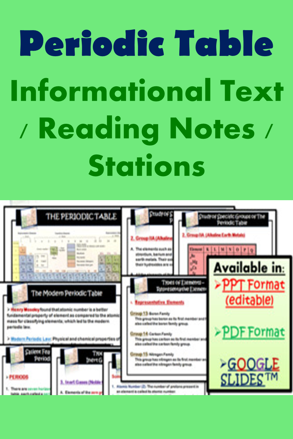 Periodic Table Reading Comprehension Notes Informational Text Stations Informational Text Reading Notes Pre Writing Activities [ 1500 x 1000 Pixel ]