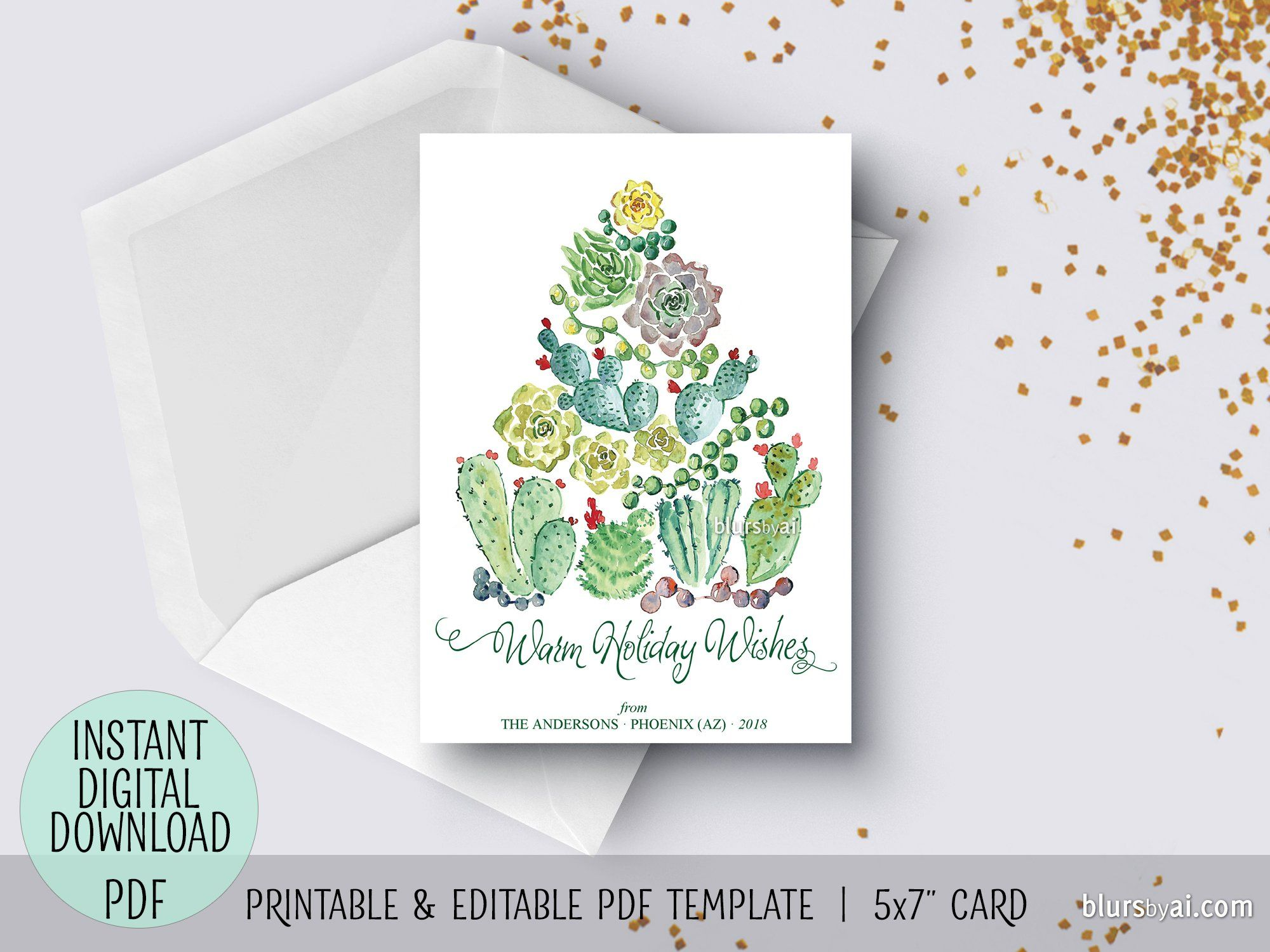 Editable Pdf Christmas Card Template Cacti And Succulents Watercolor Christmas Tree Christmas Card Template Watercolor Christmas Tree Christmas Watercolor