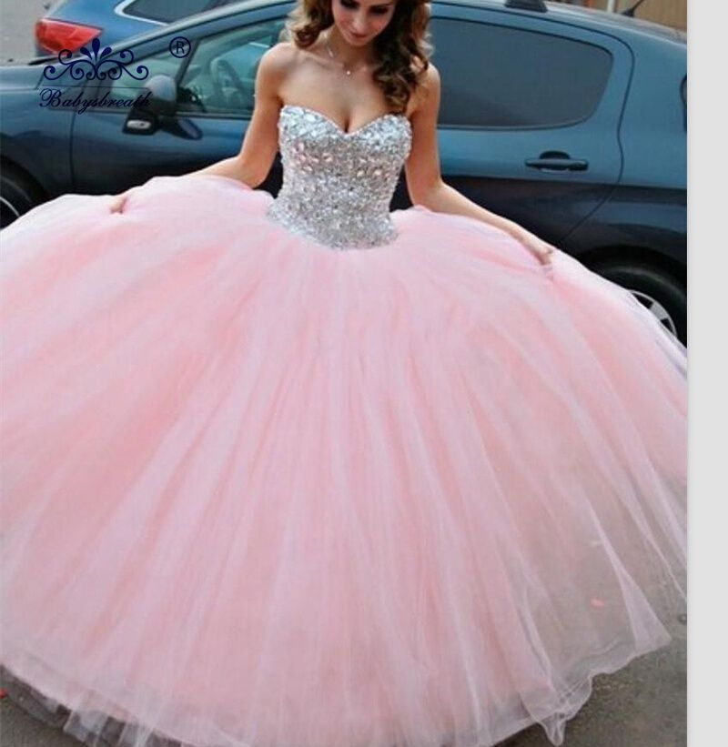 Custom Made Pink Quinceanera Dresses For S Ball Gown Crystal Sweetheart Tulle Gowns Vestidos