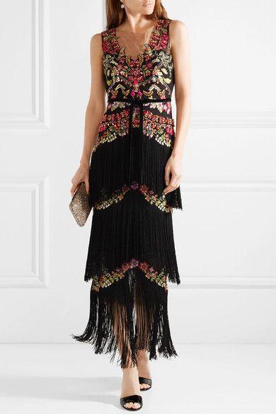 Embellished Fringed Tulle Gown - Black Marchesa wdMhUjqBW