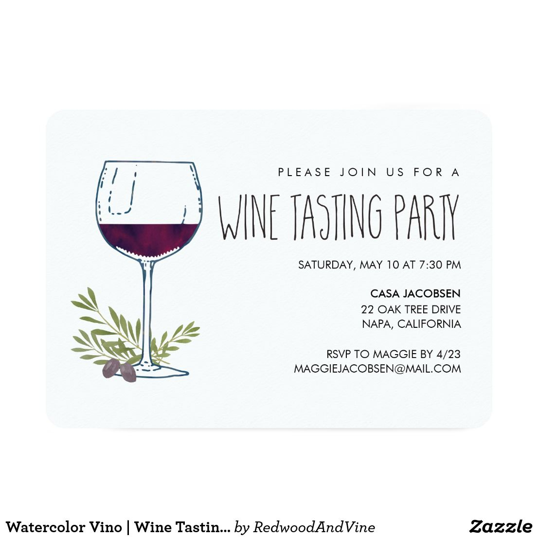 Watercolor Vino | Wine Tasting Party Card | Wine tasting party and ...
