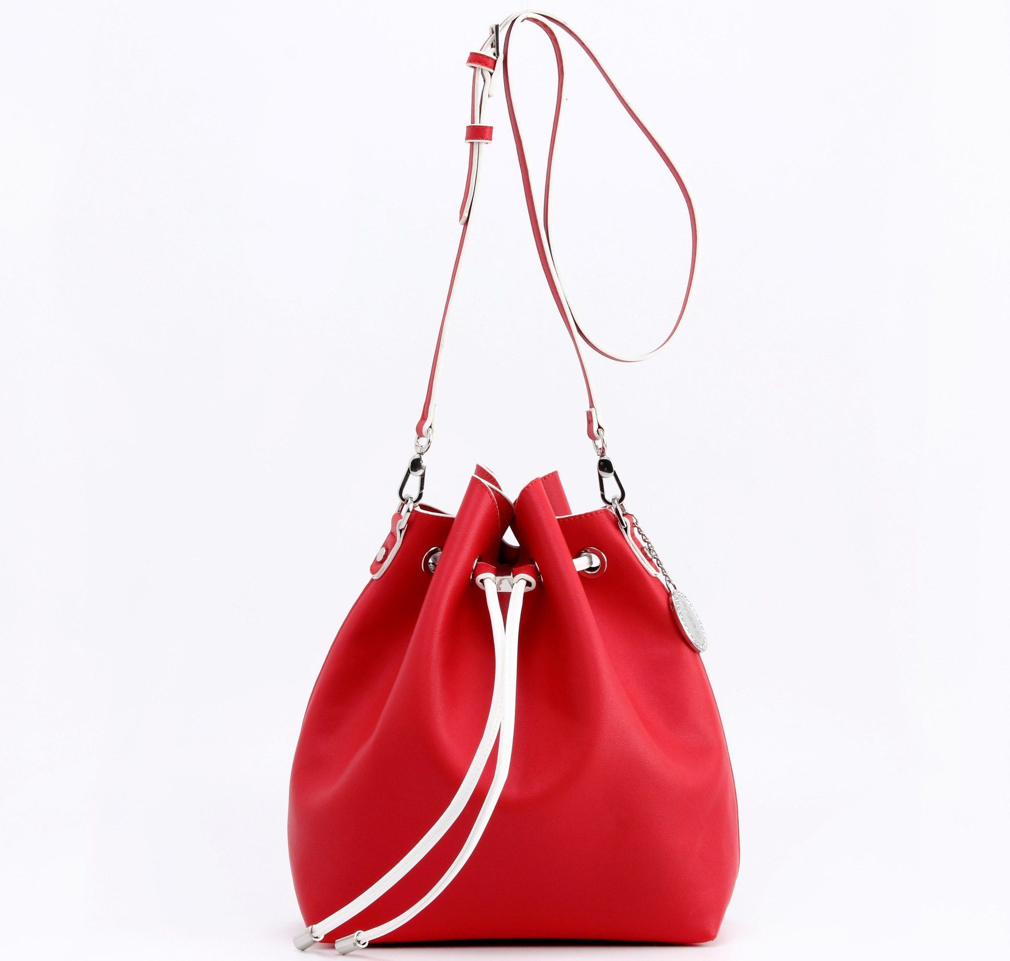 Bucket Bag-Large-Racing Red/White-Sarah Jean Solid