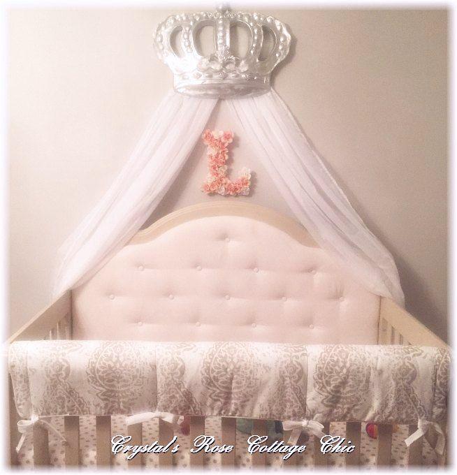 Bed Crown Canopy Crib Crown Nursery Design Wall Decor: Silver Bella Bed Crown Canopy Over Crib Nursery Decor