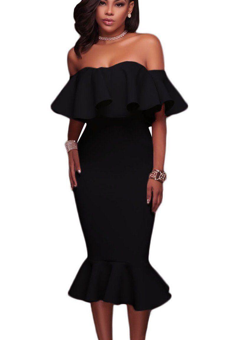 c6306525b4f Ruffle Off Shoulder Mermaid Knee-Length Little Black Dress modeshe.com