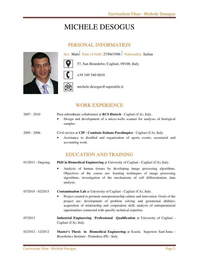 Curriculum Vitae In Italiano Con Imagenes Modelos De