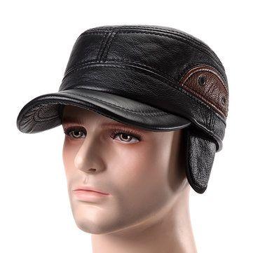Cuero De Cuero Genuino Gorra De Beisbol Earflap Orejeras De Pano Grueso Y Suave Linen Adjustable Military Hat Leather Hats Leather Baseball Cap Military Hat