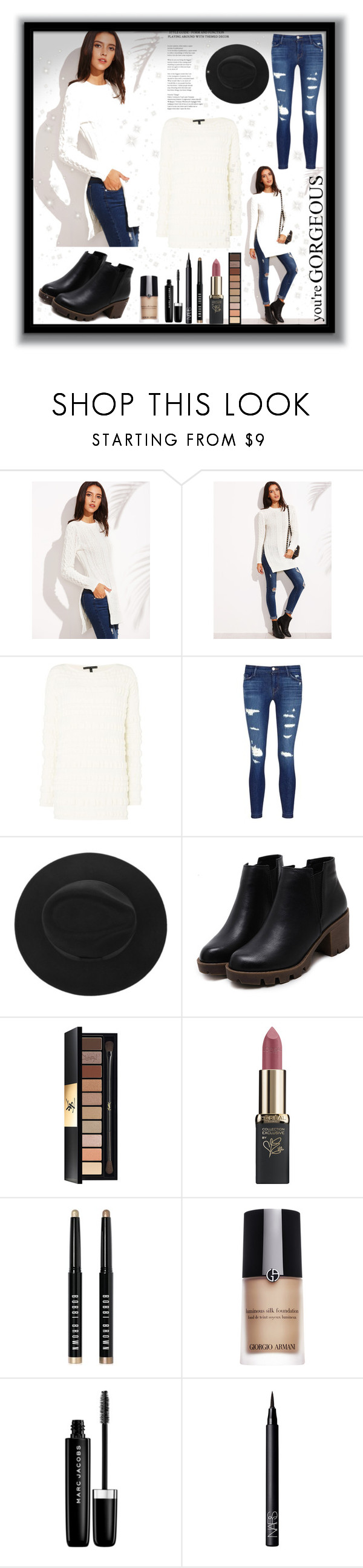 """""""Your beautiful"""" by krystalkm-7 ❤ liked on Polyvore featuring Sarah Pacini, J Brand, Yves Saint Laurent, L'Oréal Paris, Bobbi Brown Cosmetics, Giorgio Armani, Marc Jacobs and NARS Cosmetics"""