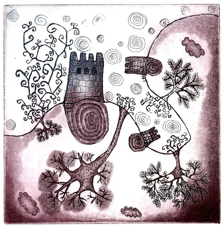 """castelos de NAtal"", gravura de Estela Baptista Costa"