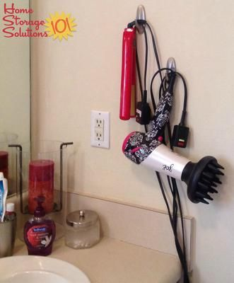 Hang Up Your Hair Dryer Flat Iron Or Curling On Wall With Command Hooks And Get Them Off The Bathroom Counter Featured Home Storage