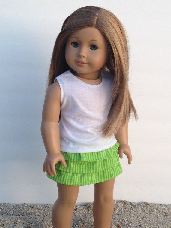 Green Striped Ruffle Skirt American Girl by HerDollEssentials