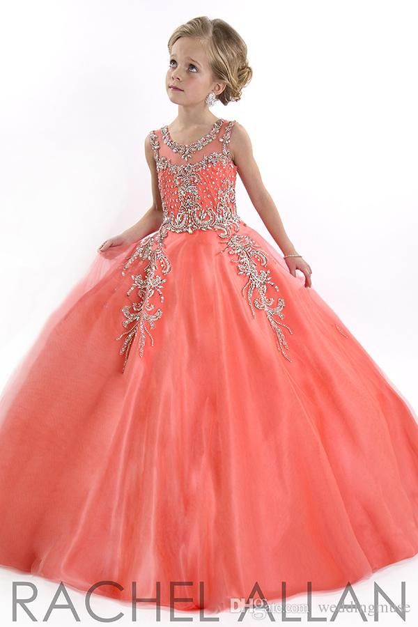 17772d062 New 2015 Little Girls Pageant Dresses Princess Tulle Sheer Jewel Crystal  Beads White Floor Length Coral front