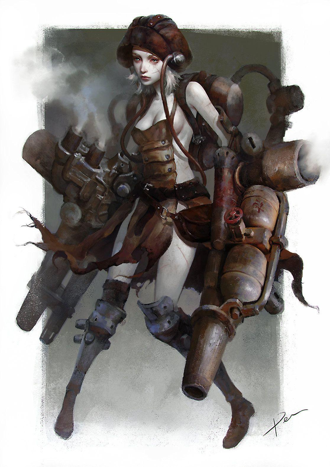 Steampunk shooter Arte com personagens, Desenho 3d