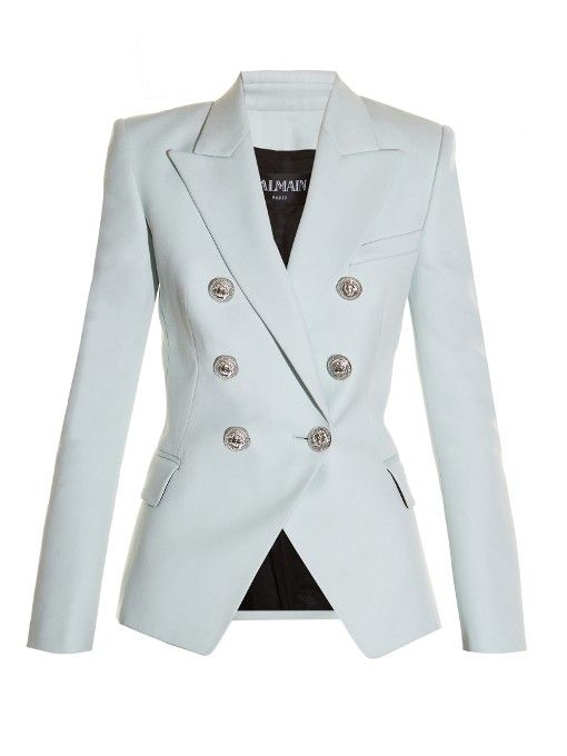 Balmain Six Button Double Breasted Wool Blazer With Images Pink Jacket Blazer Wool Blazer Balmain Blazer