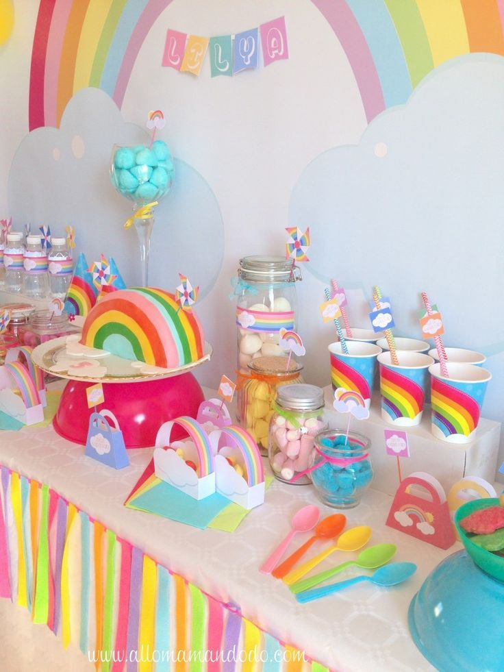 Extrêmement rainbow birthday anniversaire arc-en-ciel déco table | Party ideas  ZY57