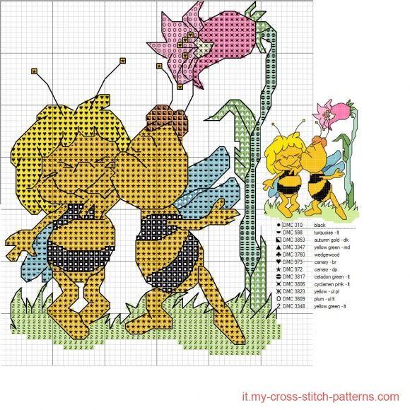 Ape maia click to view cross stitch cross stitch for Punto croce schemi facili