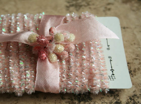 Pale Pink Tinsel Trim  12 Feet Lovely Spring Pale by juliecollings, $5.00