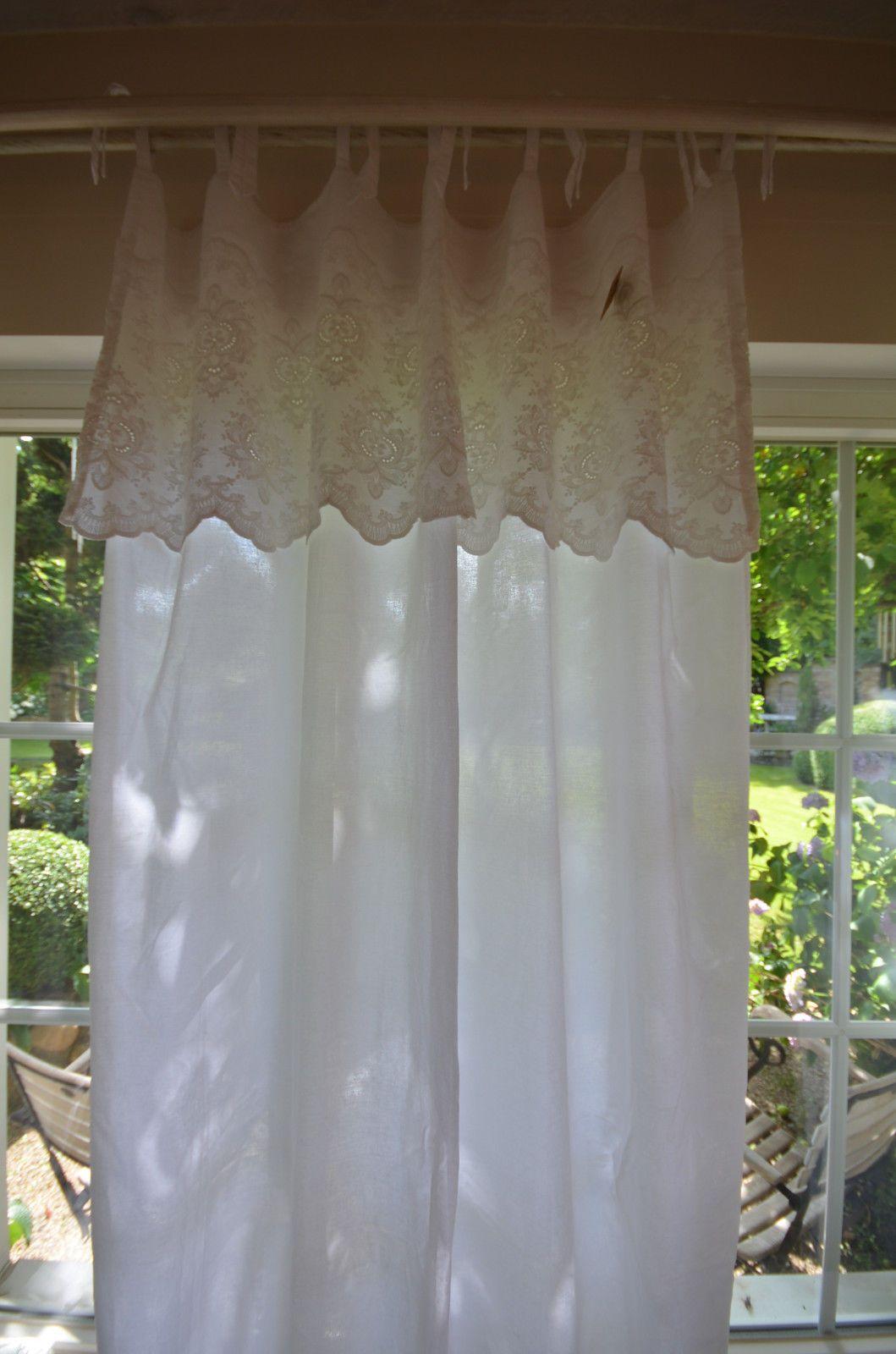 gardine vorhang wei 140 x 250 landhaus shabby chic vintage ebay gardinen in 2019 vorh nge. Black Bedroom Furniture Sets. Home Design Ideas