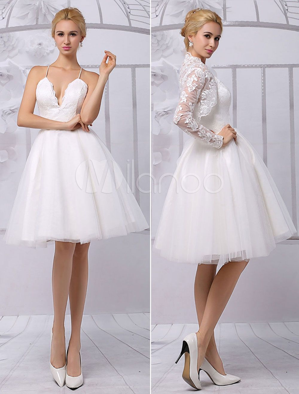 Tulle Knee-Length Spaghtti A-line Wedding Dress With Long-sleeves ...