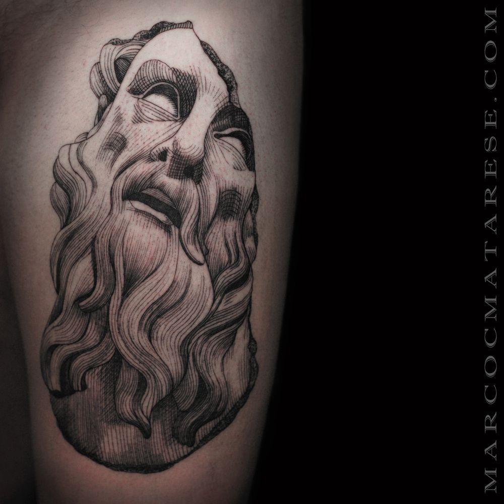Poseidon linework etching tattoo Marco C. Matarese | Tattoo ...