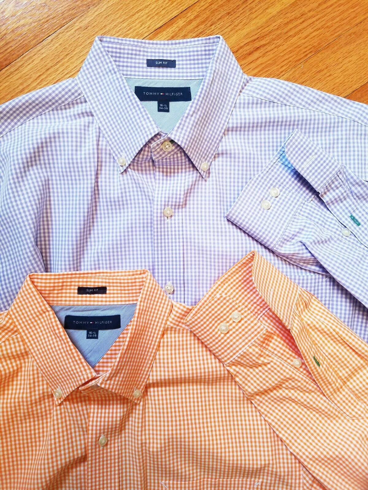 Set of Two Tommy Hilfiger Mens Shirt 16 12 34 35 Check Long