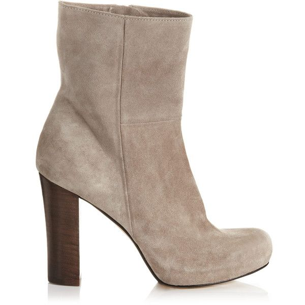 Jigsaw Highgate Leather Platform Boot ($66) ❤ liked on Polyvore featuring shoes, boots, taupe, taupe leather boots, hidden platform boots, taupe ankle boots, platform shoes and leather bootie
