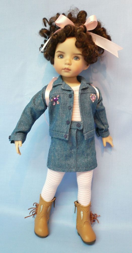 """Pink Stripes & Denim Outfit for Effner 13"""" Little Darling Doll by Apple"""