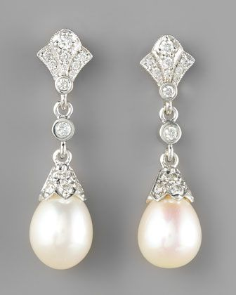 Penny Preville Diamond Pearl Drop Earrings Bridal