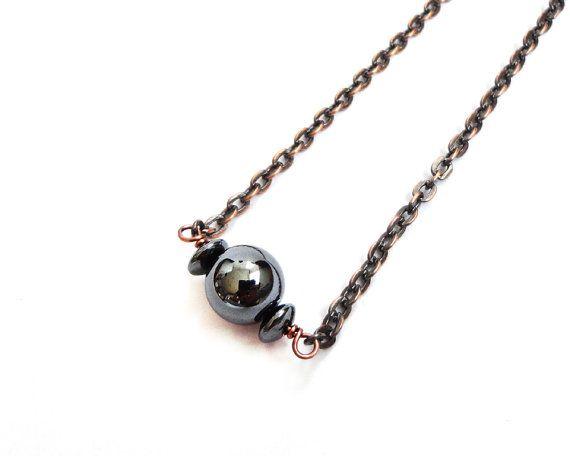Copper necklace hematite stone brown short chain gunmetal by tline, $33.00