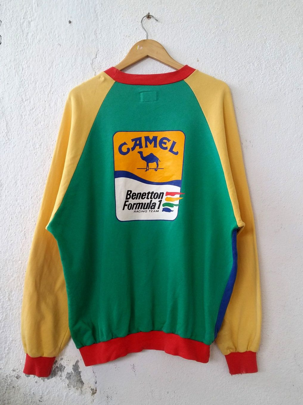 Rare Vintage 90 s BENETTON Formula 1 CAMEL Multi Color Sweatshirt with  Small Spell Out Embroidered and Back Big Logo Sweater Size XL VSS137 by ... d7230c5da9