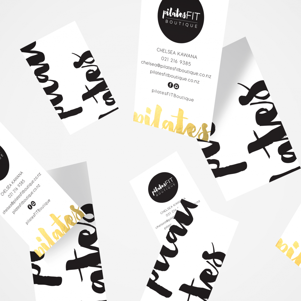 Pilates Fit Gold Foil Business Cards | Designed by www.inkeepress.co ...