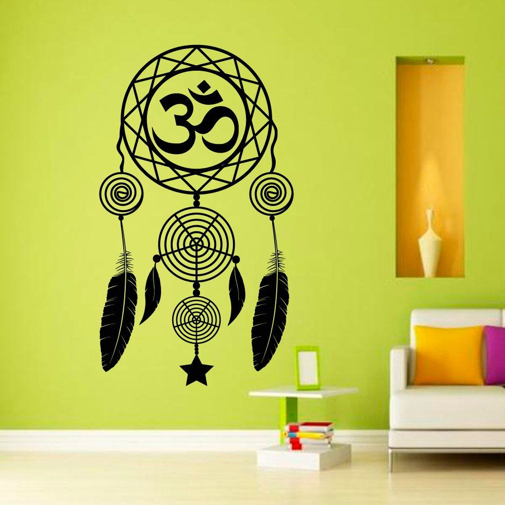 Wall Decals Dream Catcher Dreamcatcher Feathers Hindu Om Symbol ...