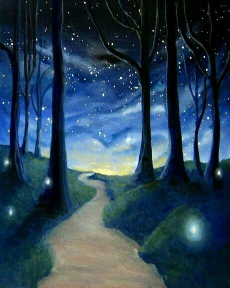 The Beginning Or The End Of The Perfect Day Woof Forest Painting Painting Night Painting