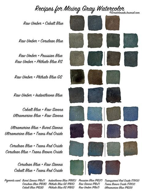 Gray watercolor mixing chart printable plus how to mix a gorgeous gray - ScratchmadeJournal.com