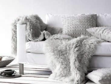 Dove Gray Home Decor ♅ Modern White Sofa With Grey Faux Fur Throws
